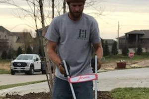 Landscaping crew tilling Omaha NE